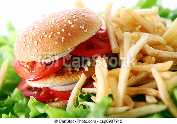 Big and tasty burger with fries - csp6907912