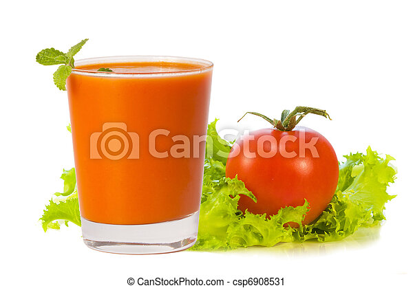 glass of tomato juice with tomato and greens - csp6908531