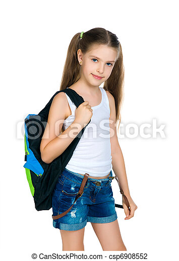 Cute schoolchild with knapsack - csp6908552