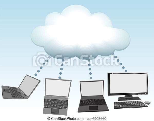 Computers connect to cloud computing technology - csp6908660