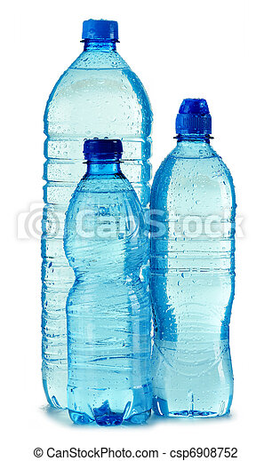 Polycarbonate plastic bottle of mineral water isolated on white - csp6908752