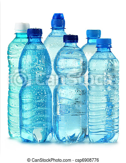 Polycarbonate plastic bottle of mineral water isolated on white - csp6908776