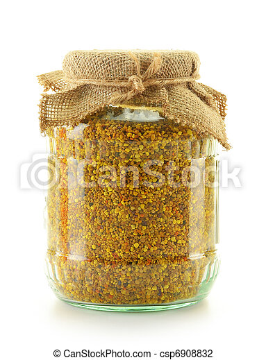 Jar with bee pollen isolated on white. Nutritional supplement - csp6908832