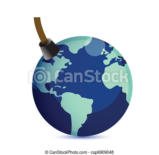 Earth at risk boom concept.  - csp6909048