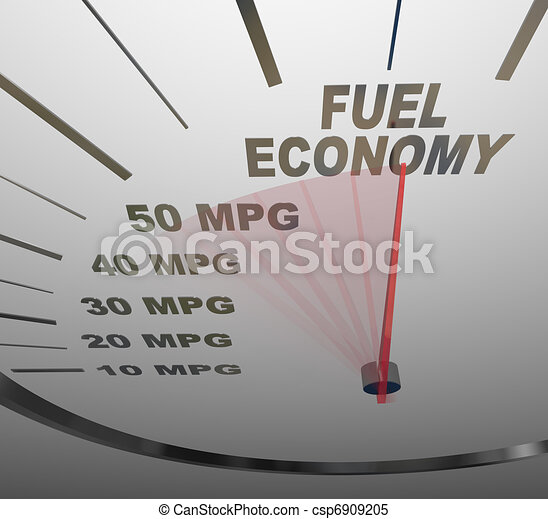 The words Fuel Economy on a vehicle speedometer with a red needle racing past numbers 10, 20, 30, 40, 50 MPG as the automobile achieves an improved efficiency rating as mandated by the government - csp6909205