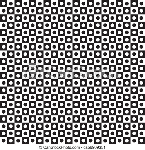 Seamless black tiles with transparent holes alternating with black circles - csp6909351
