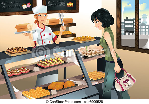 Buying cake at bakery store - csp6909528