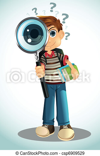 Student holding books and magnifying glass - csp6909529