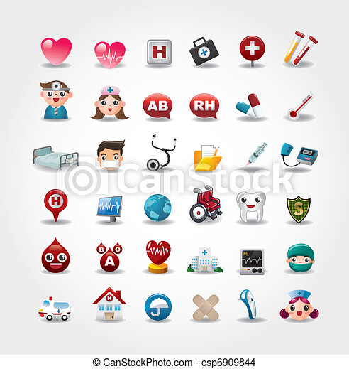 Medical and Hospital icons collection,vector - csp6909844
