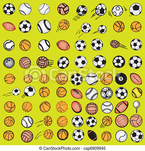 Set Ball sports icons symbols comic - csp6909945
