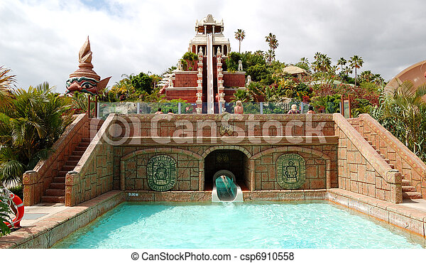TENERIFE ISLAND, SPAIN - MAY 22: The Tower of Power water attraction in Siam waterpark on May 22, 2011 in Tenerife, Spain. The Siam is the largest water theme park in Europe. - csp6910558