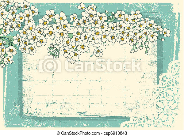 Vintage floral background with grunge decor frame for text - csp6910843