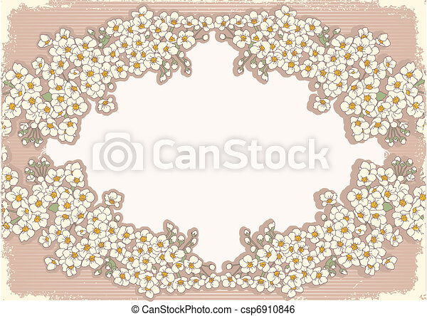 Vintage floral background with decor frame for text - csp6910846