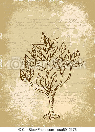 drawing a tree on a piece of grunge - csp6912176