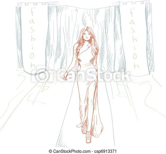 Fashion Show Drawings Fashion Csp6913371