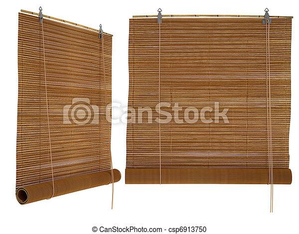 stock fotografie von bambus feste jalousie freigestellt auf a wei es csp6913750. Black Bedroom Furniture Sets. Home Design Ideas