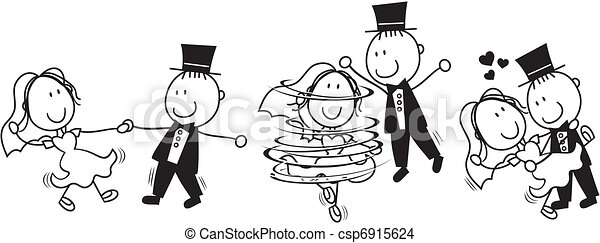 dans, första, tecknad film, bröllop - csp6915624