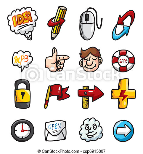 cartoon hand draw web icons collection - csp6915807