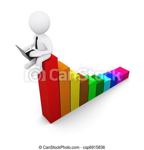 3D man with colour diagram - csp6915836