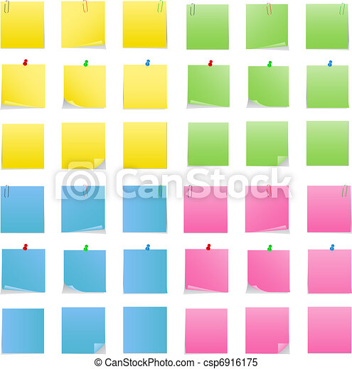 Vector Post-it Notes with Push Pins and Clips - csp6916175
