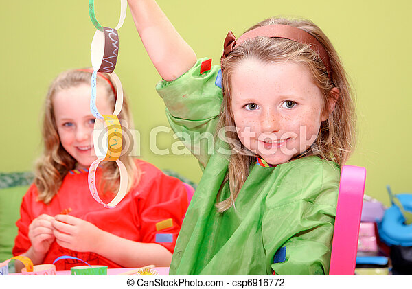 children or kids playing art and craft - csp6916772