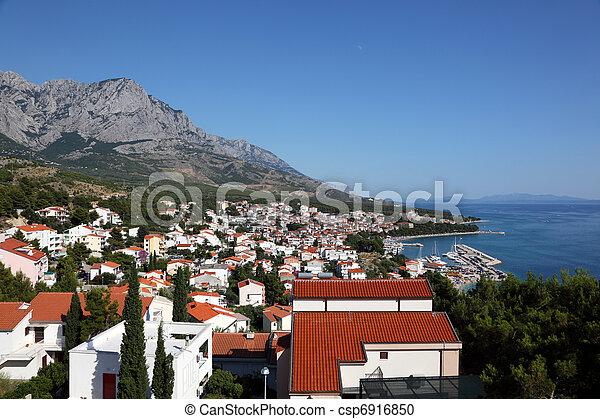 View of Croatian resort Baska Voda. Photo taken at 9th of July 2011 - csp6916850