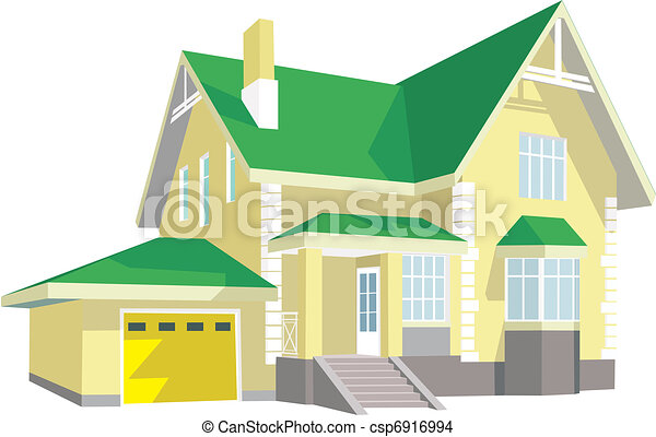 EPS Vector Of Modern House Beautiful Two story