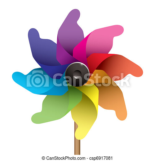 Vector Clip Art of Kids windmill - Colourful childs windmill or ...