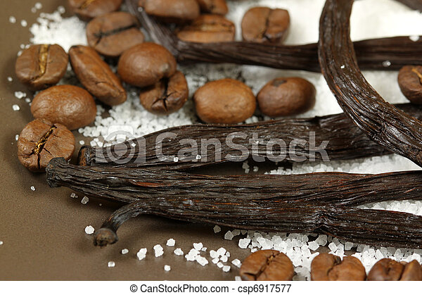 Vanilla and coffee beans - csp6917577