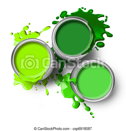 Green paint cans splashes - csp6918087