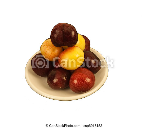 Two kinds of Cherries on a round di - csp6918153