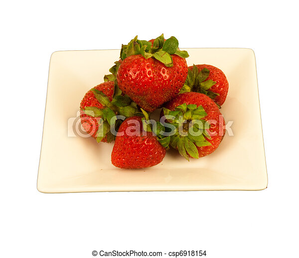 Strawberries on a square dish - csp6918154