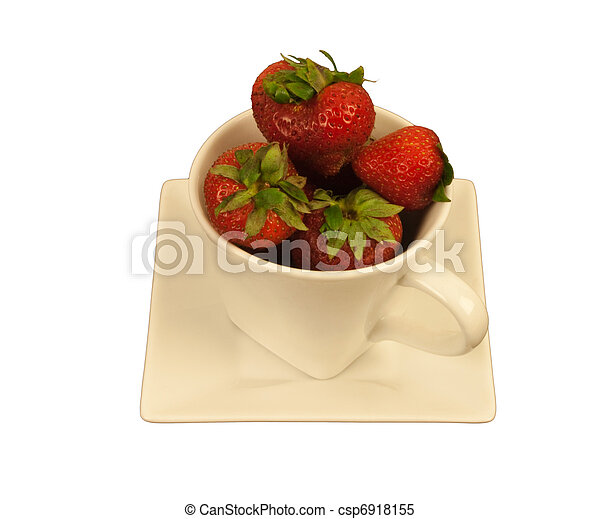 Strawberries in a square cup - csp6918155