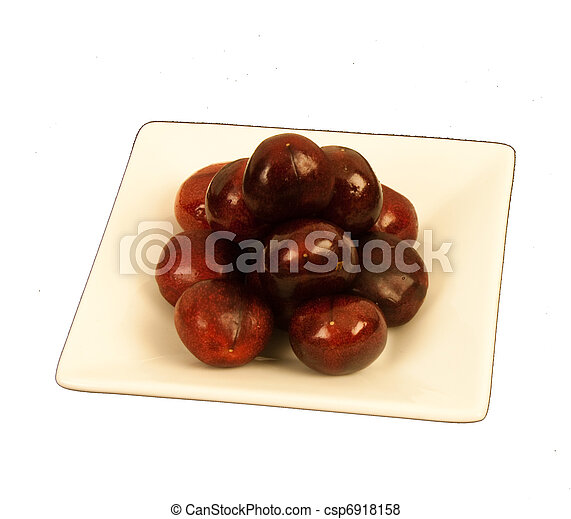 Cherries on a square plate - csp6918158
