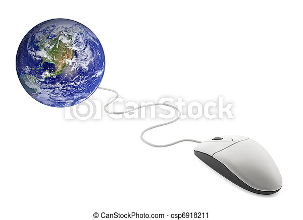 Computer mouse with globe - csp6918211