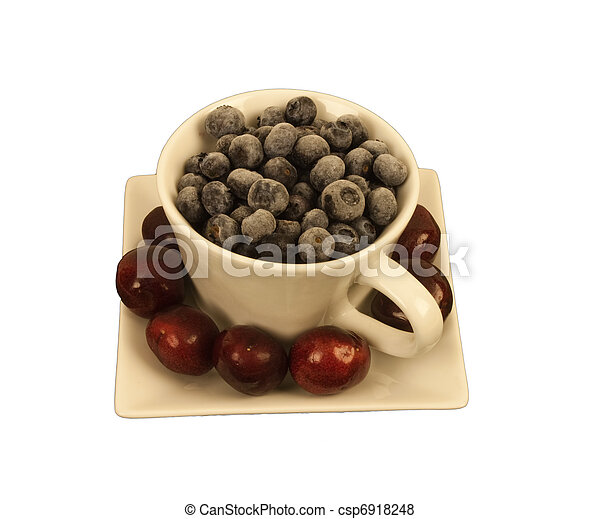 Blueberries in a square cup with ch - csp6918248