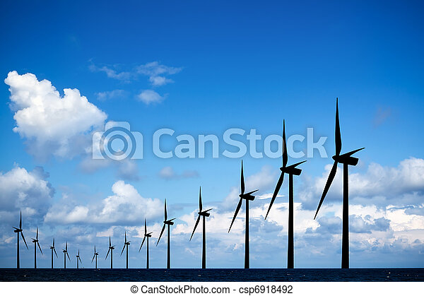 Long row of windmills - csp6918492