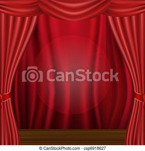 Wood Scene And Curtain - csp6918627
