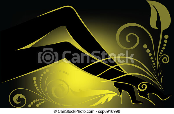 Female legs with yellow backlight - csp6918998