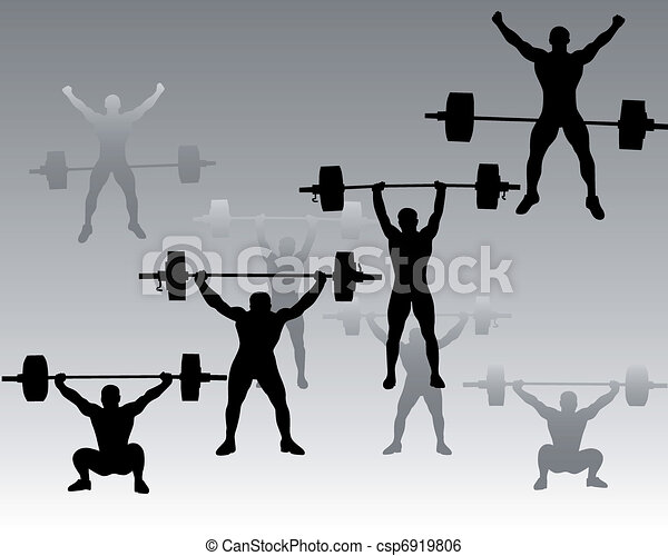 weightlifters on a gray background - csp6919806