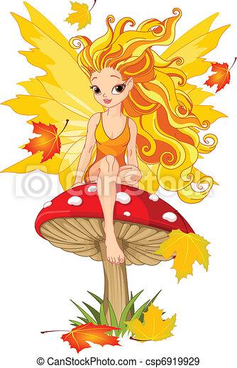 Autumn Fairy on the Mushroom - csp6919929