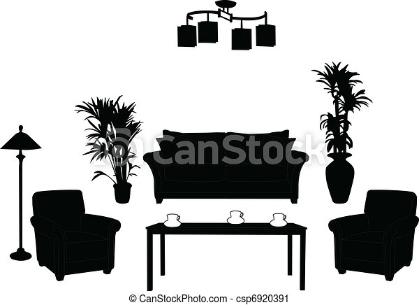 vector clip art of living room design silhouette   vector