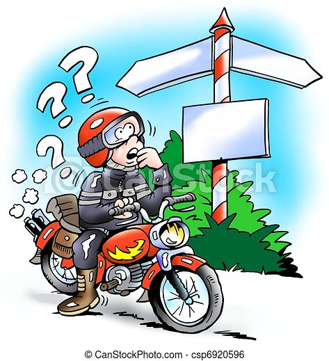 Motorbiker at a crossroads - csp6920596