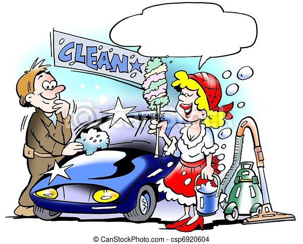 Zeichnung Von Auto Dame Putzen Auf Dame Putzen Auf
