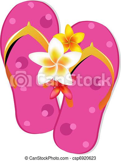 Flip Flop Sandals With Plumeria Flowers - csp6920623
