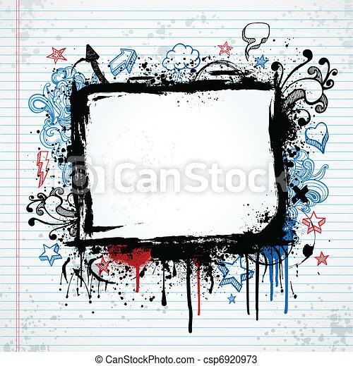 Grunge sketch frame illustration - csp6920973
