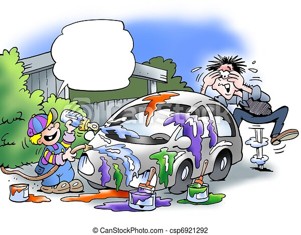 Clip Art of Son has painted father's car csp6921292 - Search ...