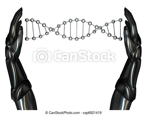 Android Hands Create DNA String - csp6921419