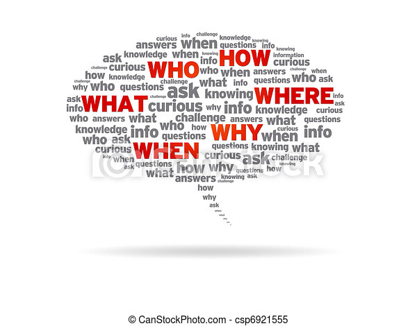 Speech Bubble - How, Who, What, Where, Why, When - csp6921555