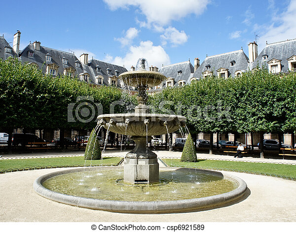 Place des Vosges, the most beautiful square in Paris - csp6921589